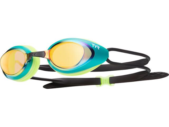 TYR Black Hawk Racing Mirrored Goggles Men gold/green